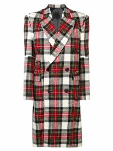 R13 oversized plaid coat - Red