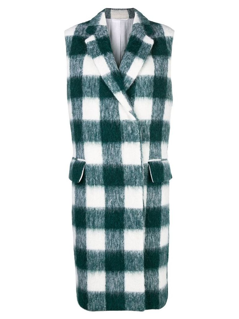 Calvin Klein 205W39nyc checked midi vest coat - Green
