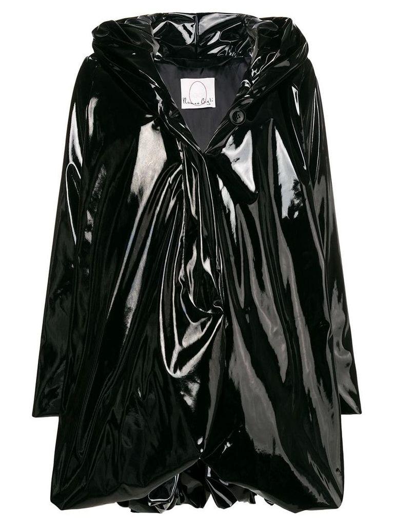 Romeo Gigli X Eggs glossy hooded coat - Black