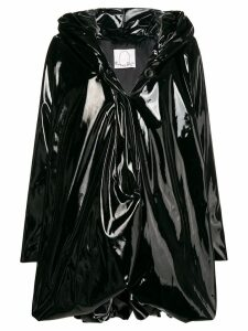 Romeo Gigli X Eggs glossy hooded coat - Black