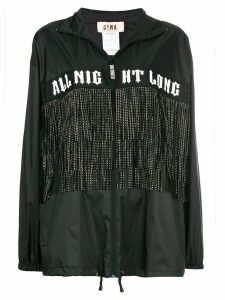Gina fringed printed zipped coat - Black