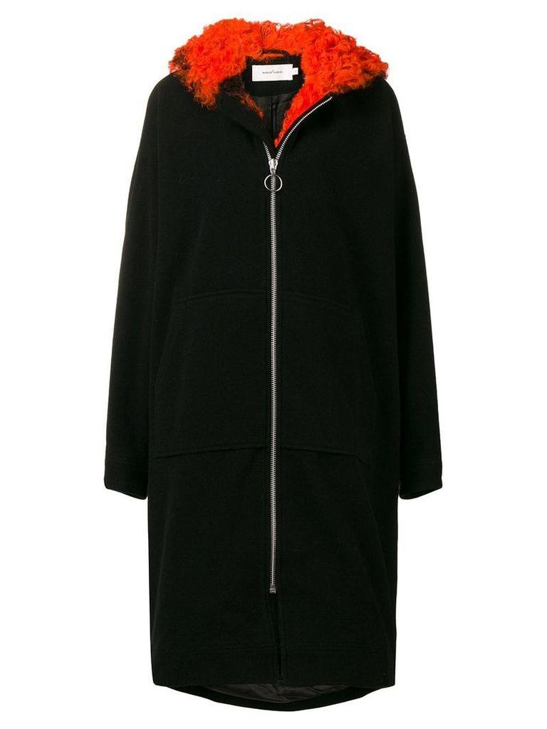 Marques'Almeida shearling trim coat - Black