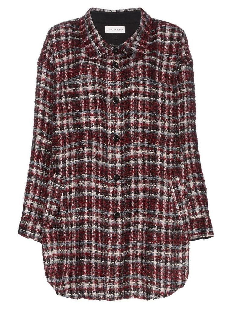 Faith Connexion Oversized Checked Jacket - Red