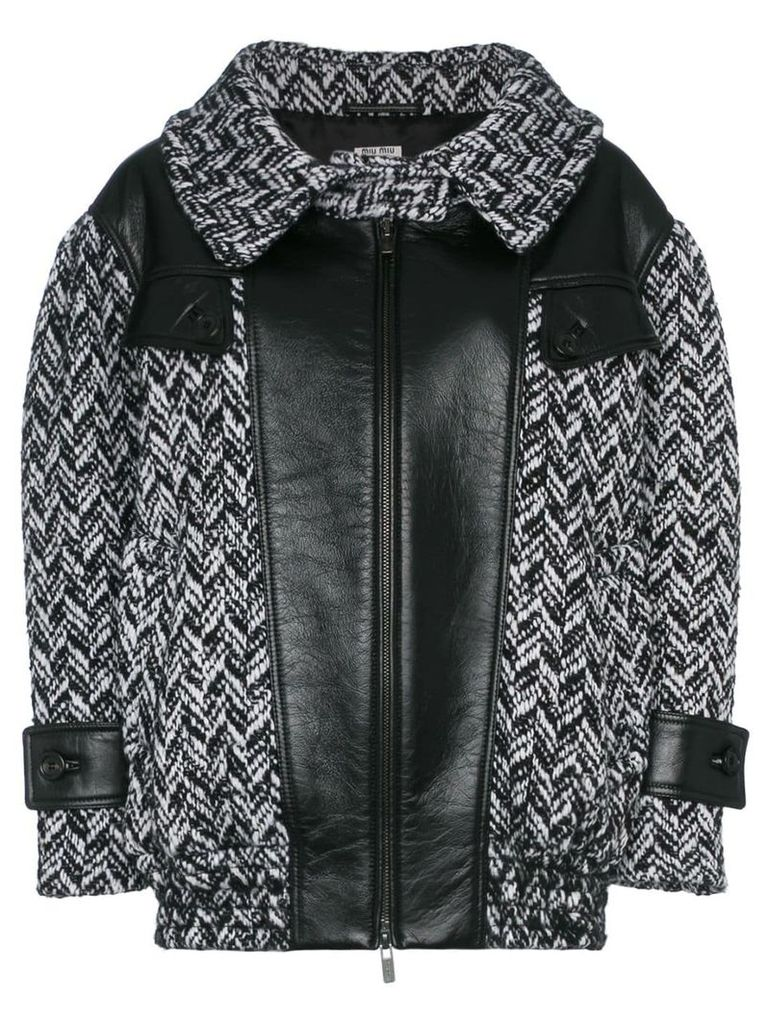 Miu Miu tweed napa leather coat - Nero