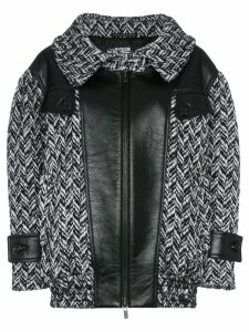 Miu Miu tweed napa leather coat - Nero