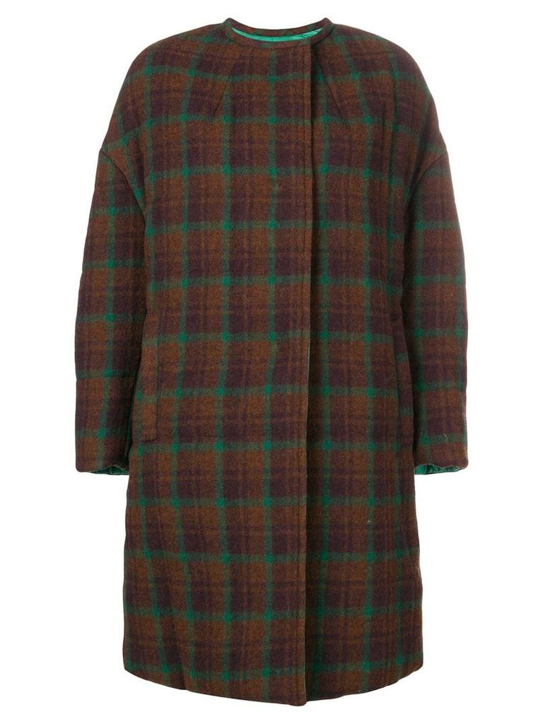 Isabel Marant checked oversized coat - Brown