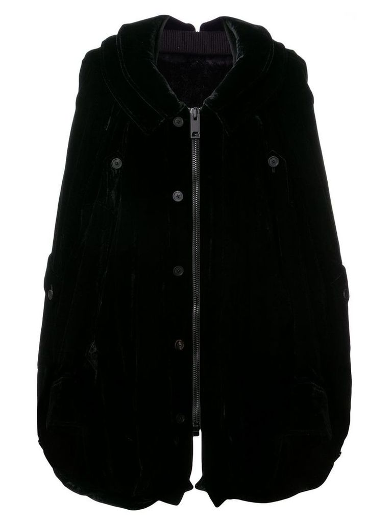 Vera Wang velvet oversized hooded coat - Black