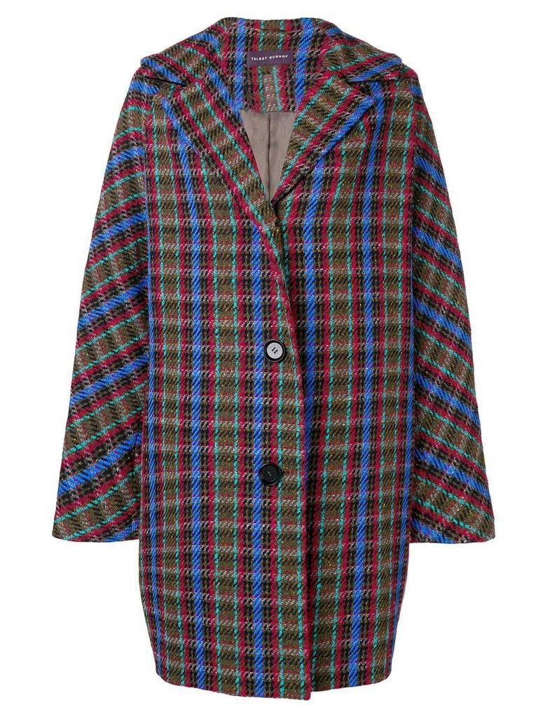 Talbot Runhof oversized check coat - Brown