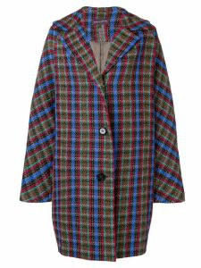 Talbot Runhof oversized check coat - Brown