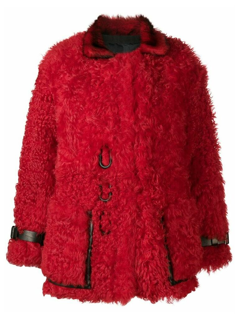 Tom Ford oversized shearling coat - Red