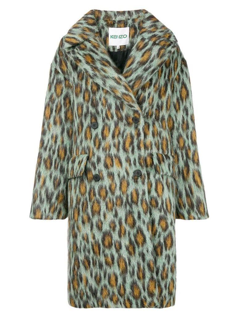 Kenzo leopard single-breasted coat - Green