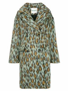 Kenzo leopard single-breasted coat - Green