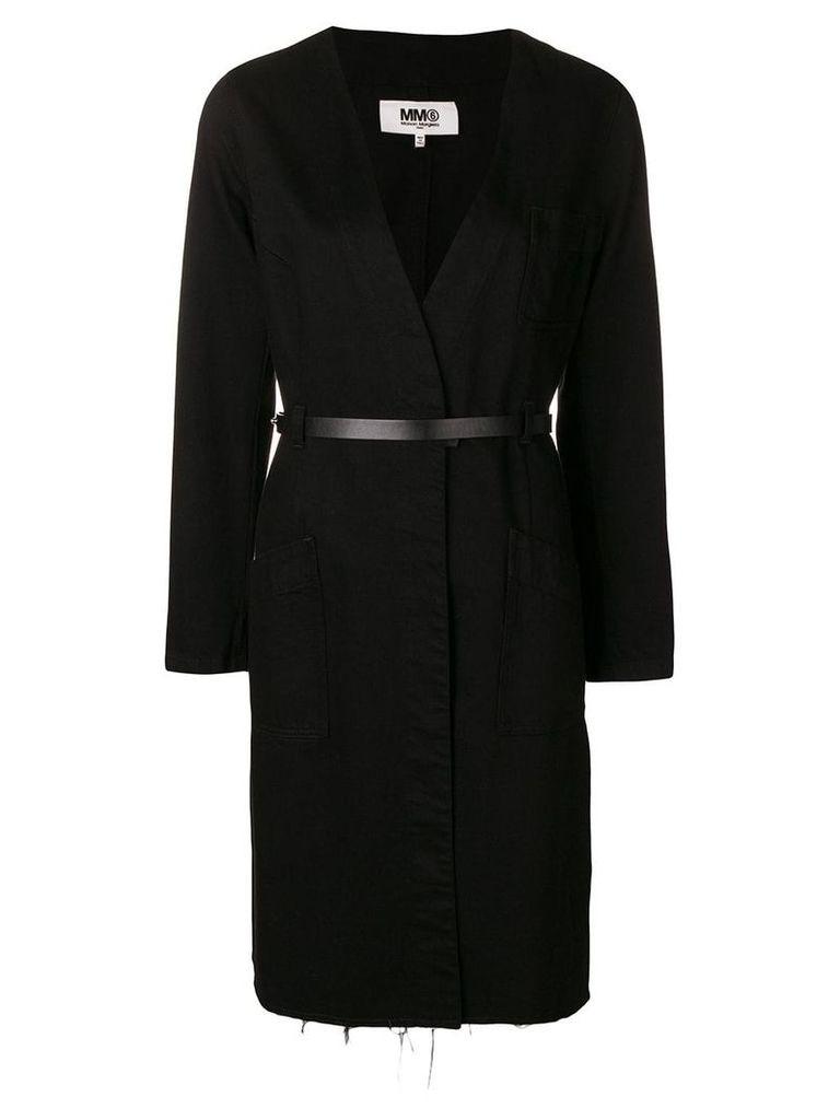 Mm6 Maison Margiela belted single breasted coat - Black