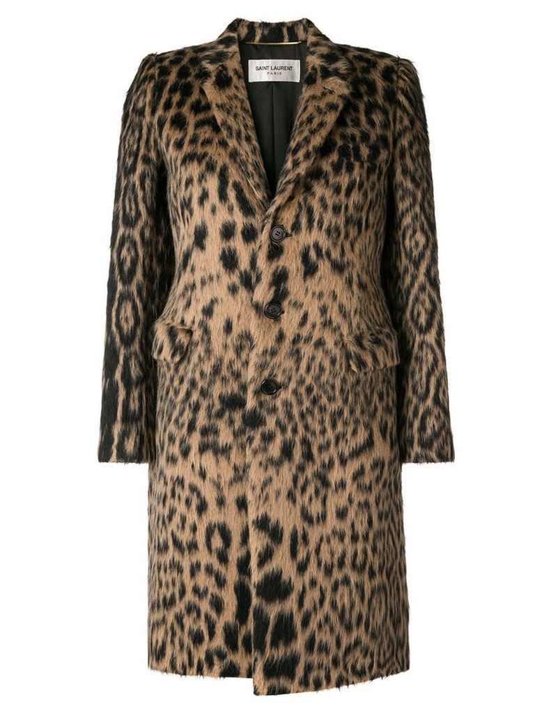 Saint Laurent leopard jacquard single-breasted coat - Neutrals