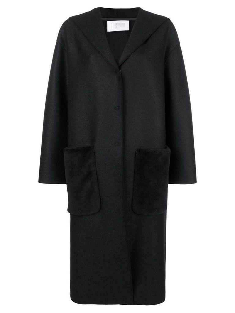 Harris Wharf London wool hooded coat - Black