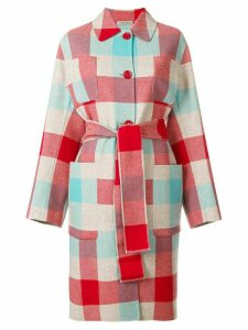 Bottega Veneta colour-block belted coat - Red