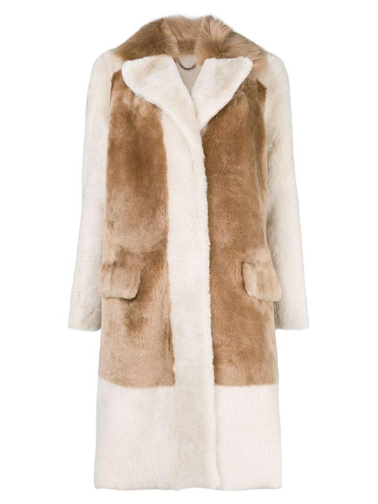 Desa 1972 single-breasted contrast coat - Neutrals