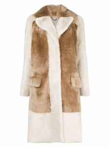 Desa 1972 single-breasted contrast coat - Neutrals