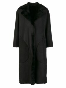 Desa 1972 fur trimmed coat - Black