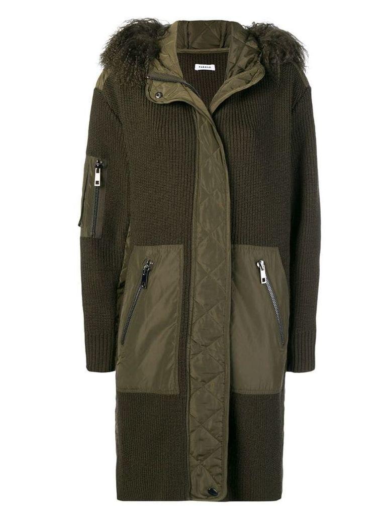 P.A.R.O.S.H. fur hood panelled coat - Green