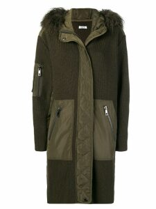 P.A.R.O.S.H. fur hood panelled coat - Green
