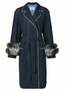 Prada fur trim coat - Blue