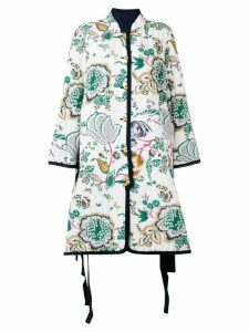 Tory Burch quilted floral print coat - White
