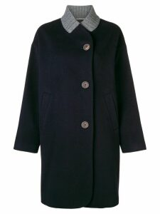 Peserico ribbed collar coat - Blue