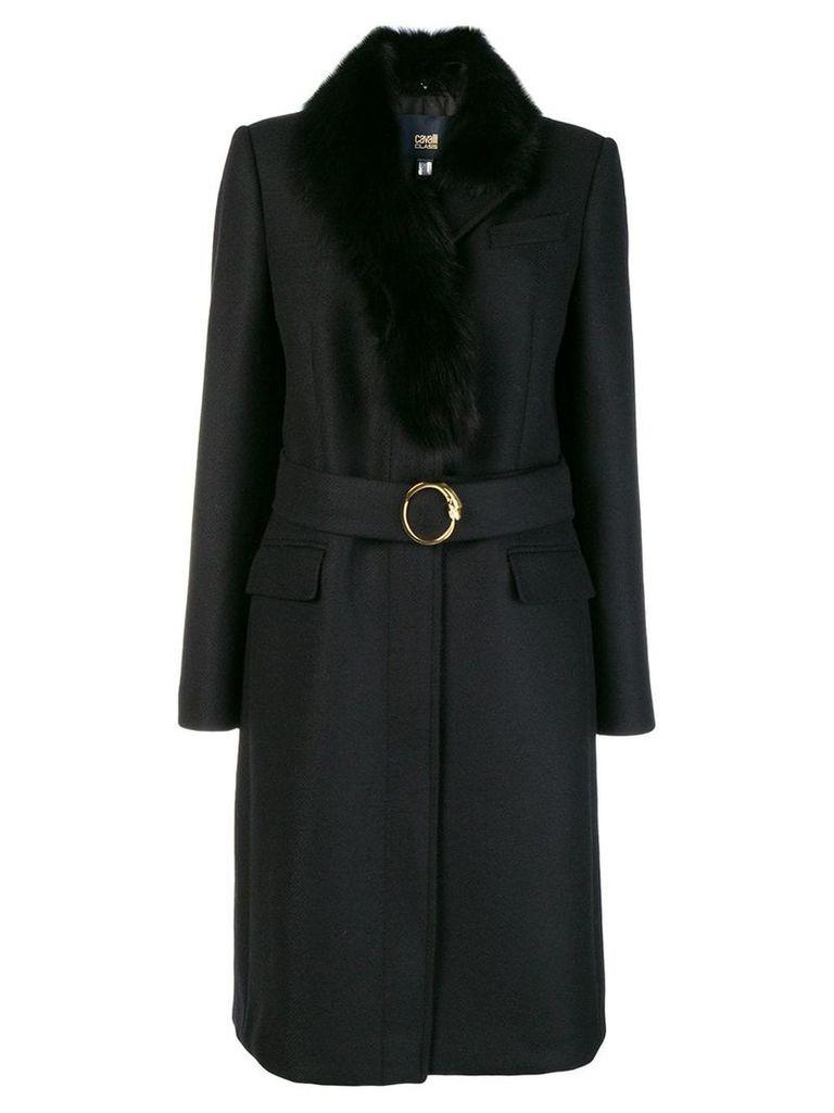 Cavalli Class fur collar coat - Black