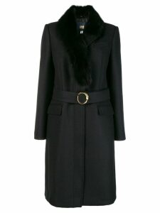 Cavalli Class fur collar coat - Black