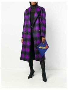 Versace checked belted coat - Purple