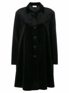 Sara Battaglia classic velvet coat - Black