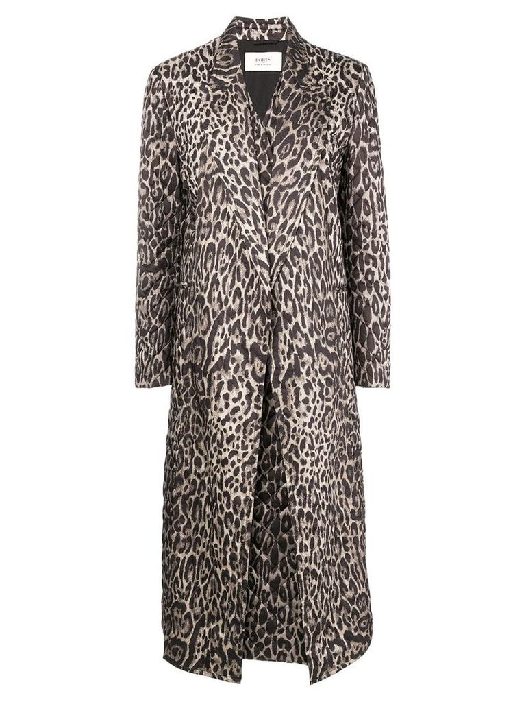 Ports 1961 leopard print quilted coat - Brown