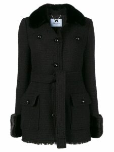 Blumarine fur trim single-breasted coat - Black
