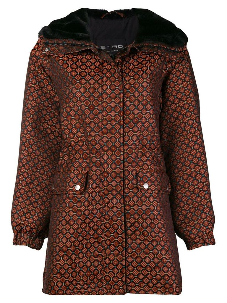 Etro geometric printed coat - Black