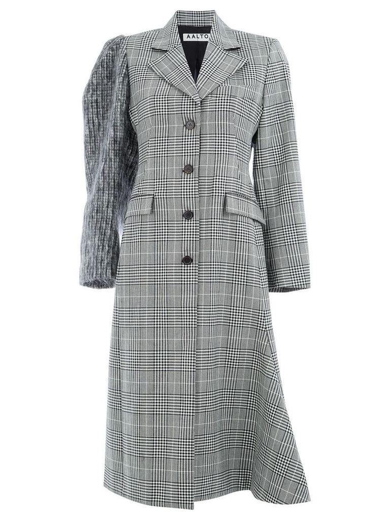 Aalto checked single-breasted coat - Black
