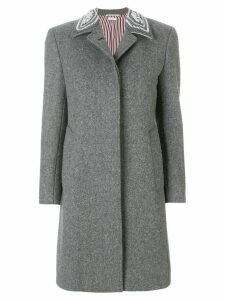 Thom Browne Pearl Collar Melton Bal Collar Overcoat - Grey