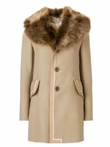 Marc Jacobs single breasted leather trim coat with fur collar -