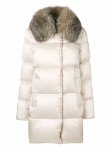 Moncler fur collared coat - Neutrals
