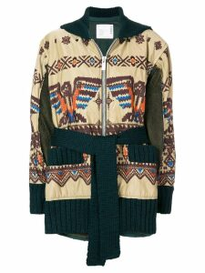 Sacai embroidered zipped coat - Neutrals