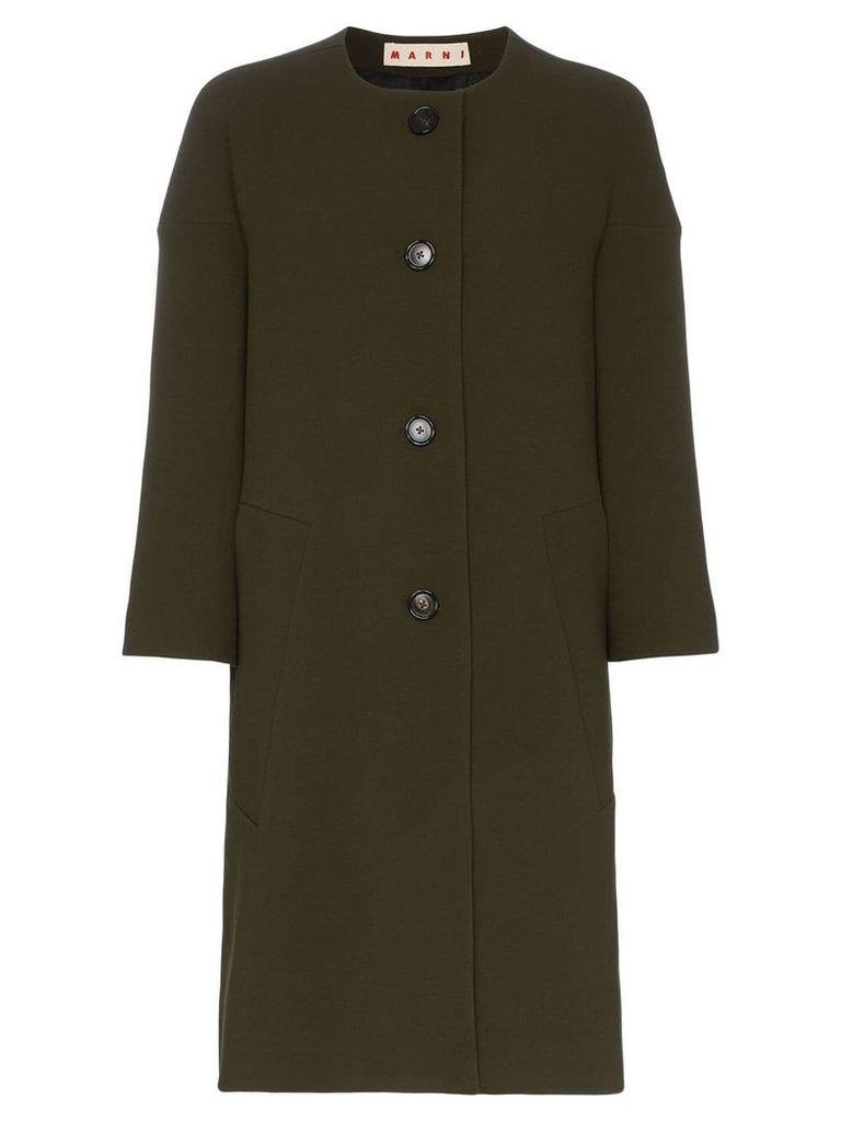 Marni cocoon single-breasted wool coat - Green