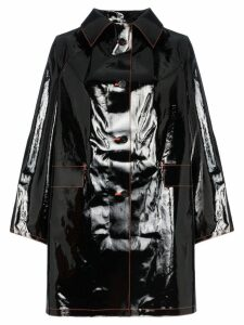 Kassl single breasted long patent cotton blend coat - Black