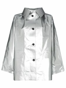 Kassl single breasted buttoned cotton blend coat - Metallic