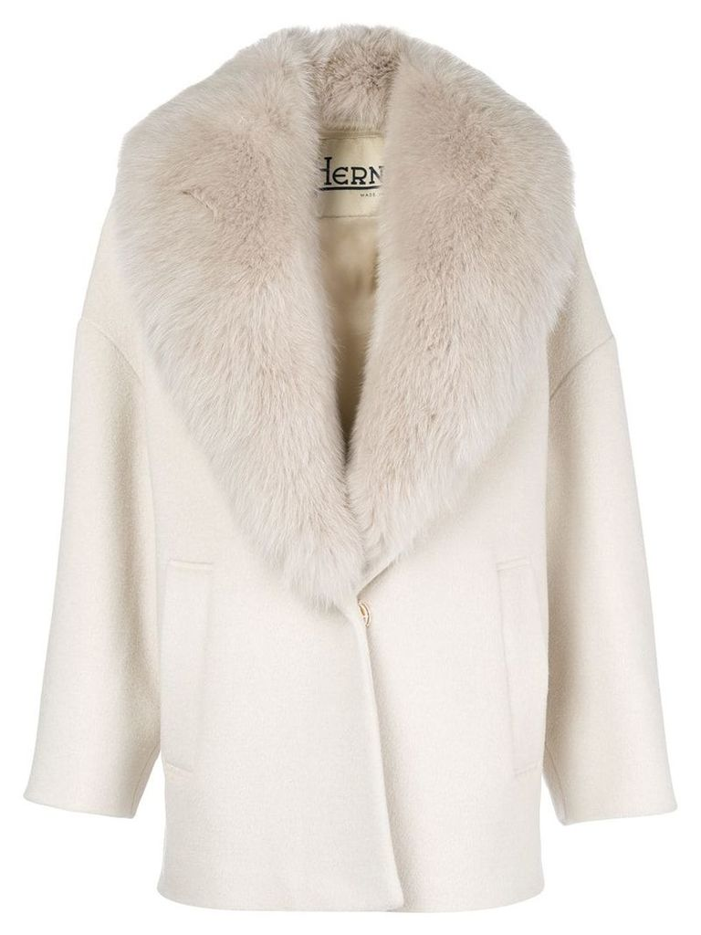 Herno fur-collared coat - Neutrals