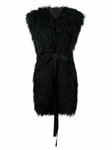 Mm6 Maison Margiela faux fur sleeveless coat - Black