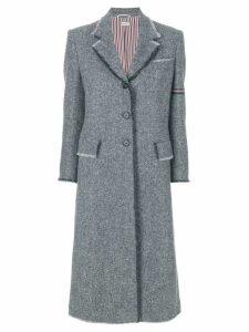Thom Browne striped frayed-edge overcoat - Grey