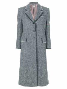 Thom Browne striped frayed-edge overcoat - Grey