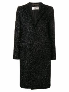 Saint Laurent textured single breasted coat - Black