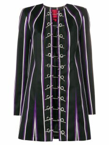 Rouge Margaux striped toggle coat - Black