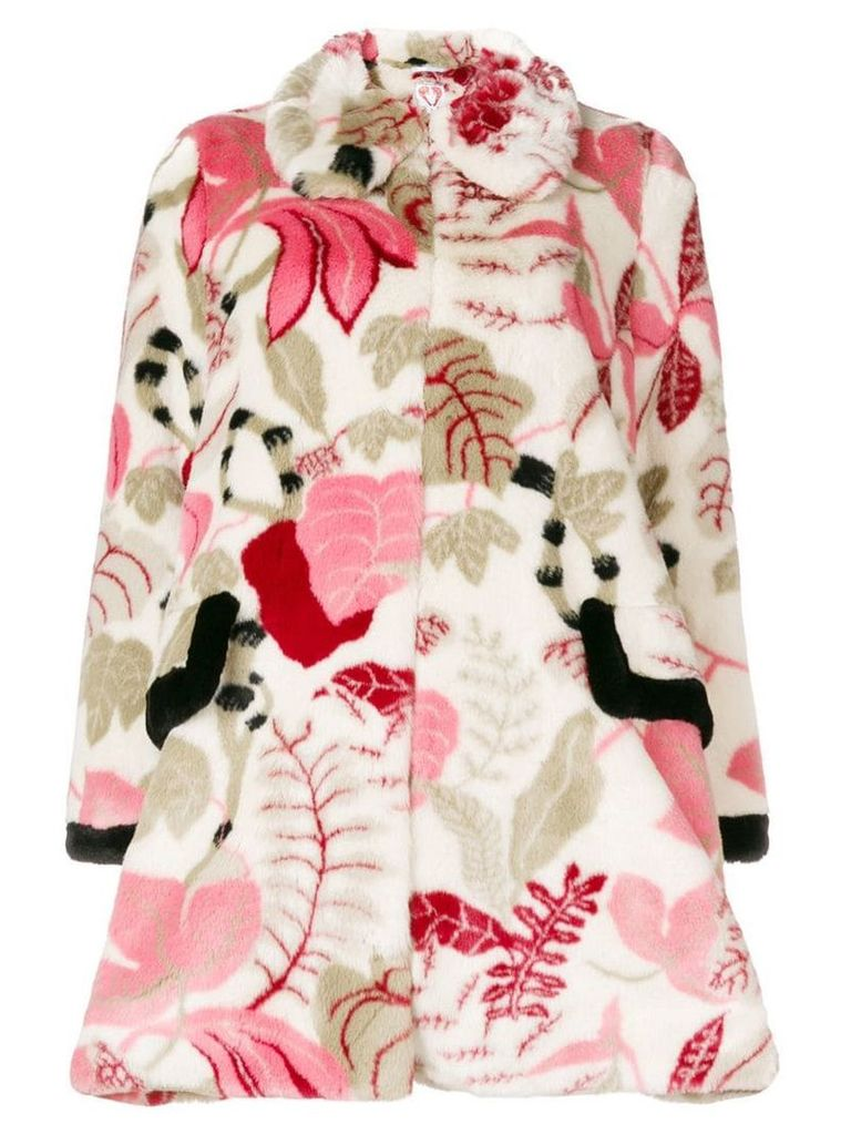 Shrimps textured floral print coat - Multicolour